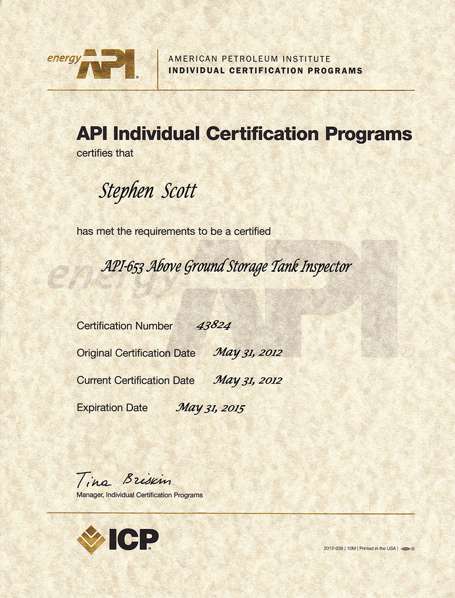 Api 653 Certified Storage Tank Inspector Scott7